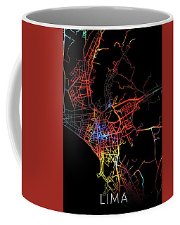 Lima Peru Watercolor City Street Map Dark Mode Coffee Mug