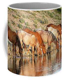 Lineup At The Pond-- Wild Horses Coffee Mug