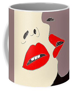 Coffee Mug featuring the drawing Lips by W And F Kreations