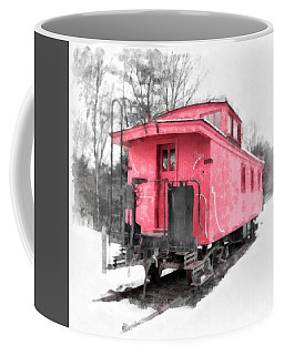 Little Red Caboose Watercolor Coffee Mug