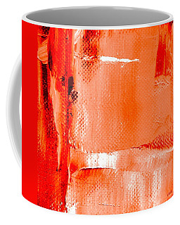 Coffee Mug featuring the painting Living Coral Spectrum Abstract by VIVA Anderson