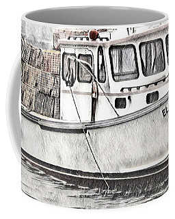 Coffee Mug featuring the digital art Lobster Boat - Mount Desert Island by Pennie McCracken