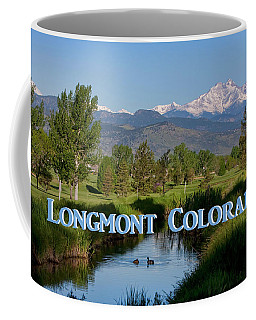 Coffee Mug featuring the photograph Longmont Colorado Twin Peaks View Poster by James BO Insogna