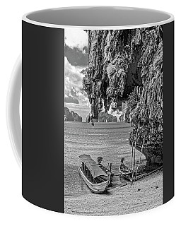 Longtail Boats - Phang Nga Bay - Thailand Bw Coffee Mug