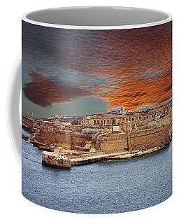 Looking Across Harbor From Fort St Elmo To  Fort Rikasoli Coffee Mug