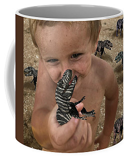 Coffee Mug featuring the mixed media Lots Of These Snappy Critters Round by Joan Stratton