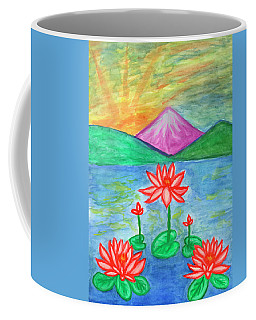 Coffee Mug featuring the painting Lotuses Blooming by Dobrotsvet Art