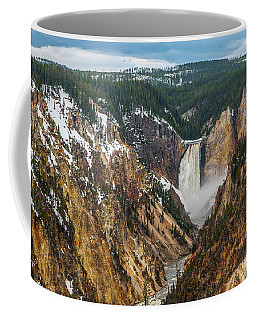 Coffee Mug featuring the photograph Lower Yellowstone Falls - Horizontal by Matthew Irvin