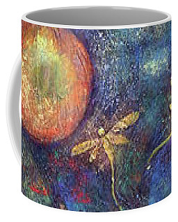 Coffee Mug featuring the painting Luminous Dragonflies by Arttantra