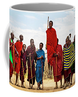 Coffee Mug featuring the photograph Maasai Jumping Dance by Kay Brewer