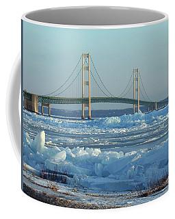 Coffee Mug featuring the photograph Mackinac Bridge In Ice 2161801 by Rick Veldman