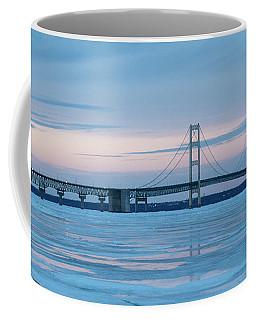 Coffee Mug featuring the photograph Mackinac Bridge In Ice 2161803 by Rick Veldman
