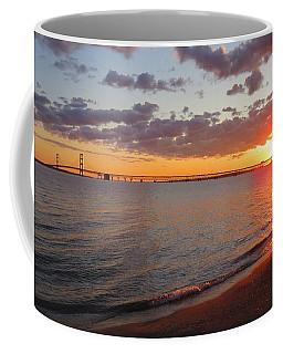 Mackinac Bridge Sunrise Panorama Coffee Mug