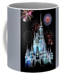 Magic Kingdom Castle In Frosty Light Blue With Fireworks 06 Coffee Mug