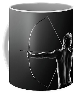 Male Archer Drawing Long Bow Coffee Mug