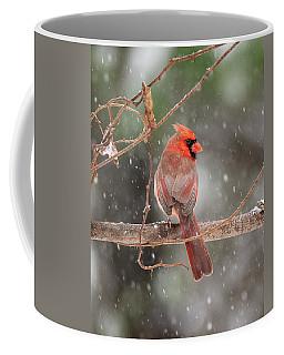 Male Red Cardinal Snowstorm Coffee Mug