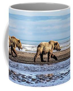 Mama Bear And Her Two Cubs On The Beach. Coffee Mug