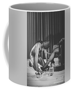 Man With Masked Face On His Knees In Front Of His Mistress Coffee Mug