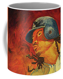 Coffee Mug featuring the painting Manny Ramirez by Donna Hall