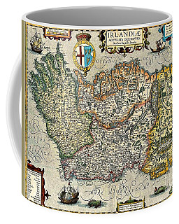 Coffee Mug featuring the painting Map Of Ireland By Boazio by Val Byrne
