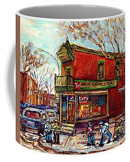 Marche Raphael Little Corner Store Mile End Hockey Art Debullion Brick Duplex C Spandau Street Scene Coffee Mug