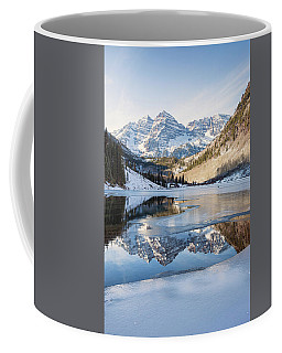 Coffee Mug featuring the photograph Maroon Bells Reflection Winter by Nathan Bush