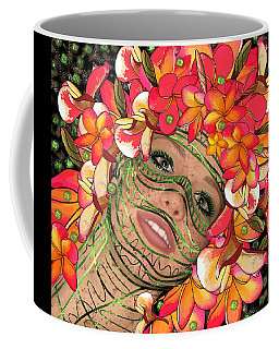 Coffee Mug featuring the mixed media Mask Freckles And Flowers by Joan Stratton