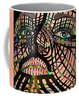 Coffee Mug featuring the mixed media Mask I Am So Much More Than You See by Joan Stratton