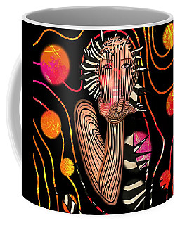Coffee Mug featuring the mixed media Mask Of The Sea by Joan Stratton