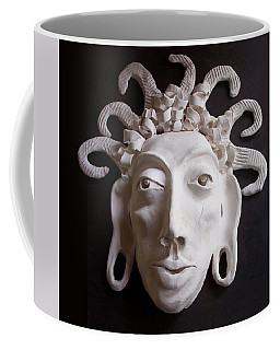 Coffee Mug featuring the ceramic art Mask The Aztec by Joan Stratton