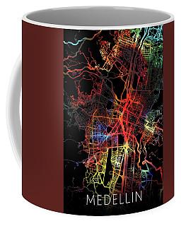 Medellin Colombia Watercolor City Street Map Dark Mode Coffee Mug