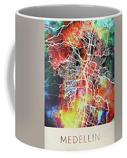 Medellin Colombia Watercolor City Street Map Coffee Mug