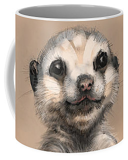 Coffee Mug featuring the digital art Meercat by Lora Serra