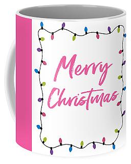 Coffee Mug featuring the digital art Merry Christmas Lights- Art By Linda Woods by Linda Woods