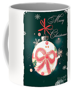 Coffee Mug featuring the photograph Merry Christmas Ribbon Ornament by Rachel Hannah