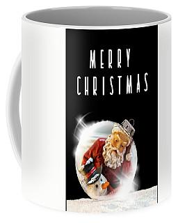 Coffee Mug featuring the mixed media Merry Christmas Santa And Snow by Rachel Hannah