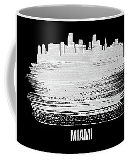 Miami Skyline Brush Stroke White Coffee Mug