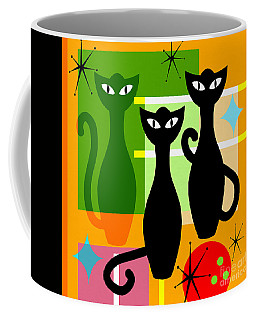 Coffee Mug featuring the photograph Mid Century Modern Abstract Mcm Bowling Alley Cats 20190113 Square by Wingsdomain Art and Photography