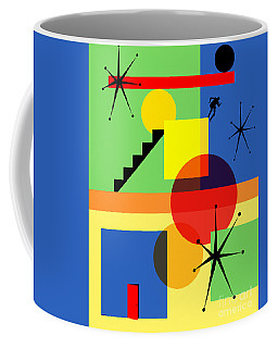 Coffee Mug featuring the digital art Mid Century Modern Abstract Over The Edge 20190106 by Wingsdomain Art and Photography