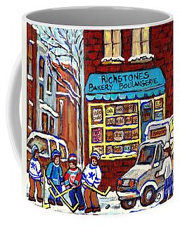 Milk Delivery Richstone Bakery Montreal Deli Art Boulangerie Winterscene Hockey Paintings C Spandau  Coffee Mug