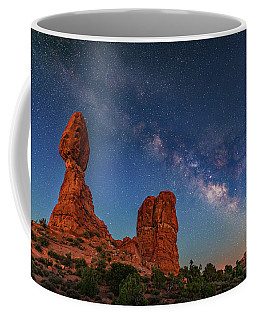 Milky Way Over Balanced Rock At Twilight Coffee Mug