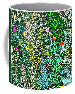 Millefleurs Design With Pink Roses, Black Eyed Susans And Butterflies Coffee Mug