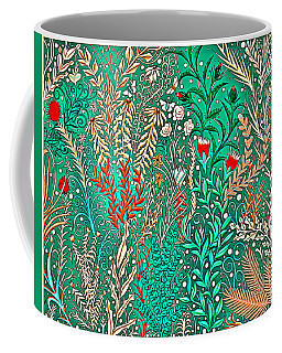 Millefleurs Home Decor Design In Brilliant Green And Light Oranges With Leaves And Flowers Coffee Mug
