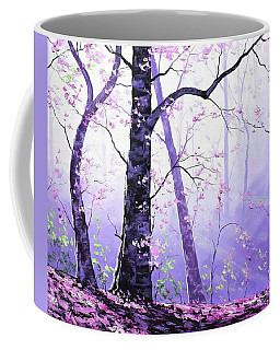 Misty Pink Trees Forest Coffee Mug