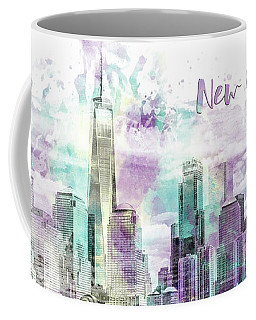 Modern Art Nyc Manhattan Skyline - Jazzy Watercolor  Coffee Mug