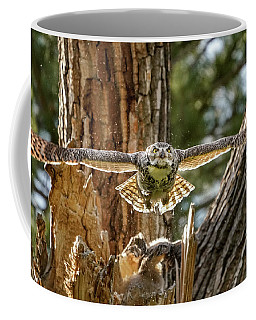 Momma Great Horned Owl Blasting Out Of The Nest Coffee Mug