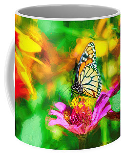 Monarch Butterfly Impasto Colorful Coffee Mug