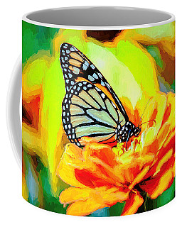 Monarch Butterfly Van Gogh Style Coffee Mug