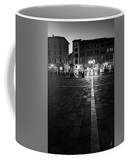 Monochrome Nativity - Black And White Christmas Lights In Lucca, Tuscany, Italy Coffee Mug