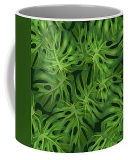 Monstera Leaf Pattern 1 - Tropical Leaf Pattern - Dark Green - Tropical, Botanical Pattern Design Coffee Mug